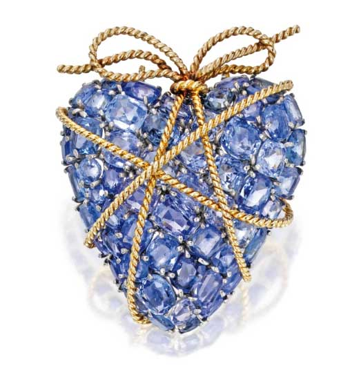 Verdura Gold and Sapphire Heart Shaped Brooch
