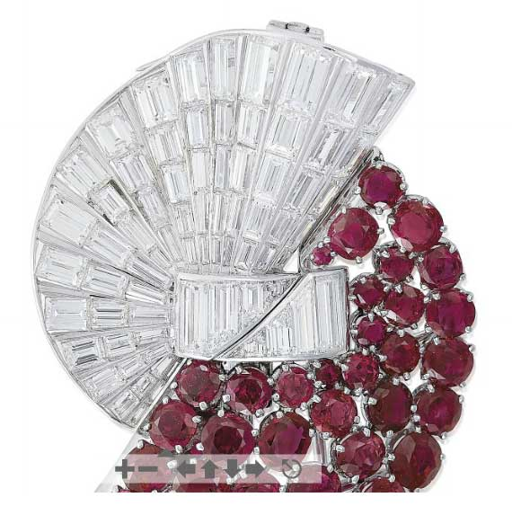 French Ruby and Diamond Double Clasp Brooch