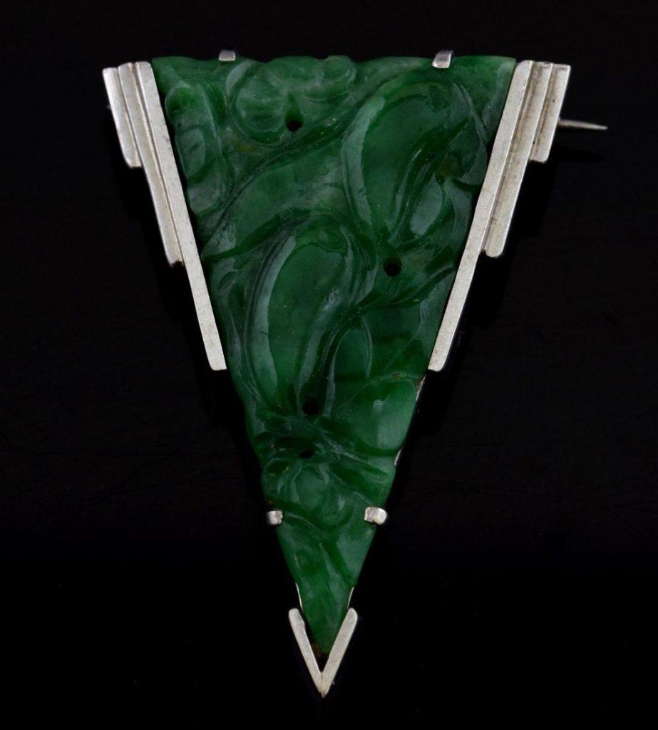 Art Deco Jade Brooch