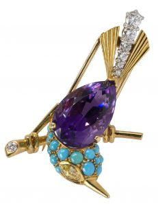 Cartier amethyst diamond bird brooch