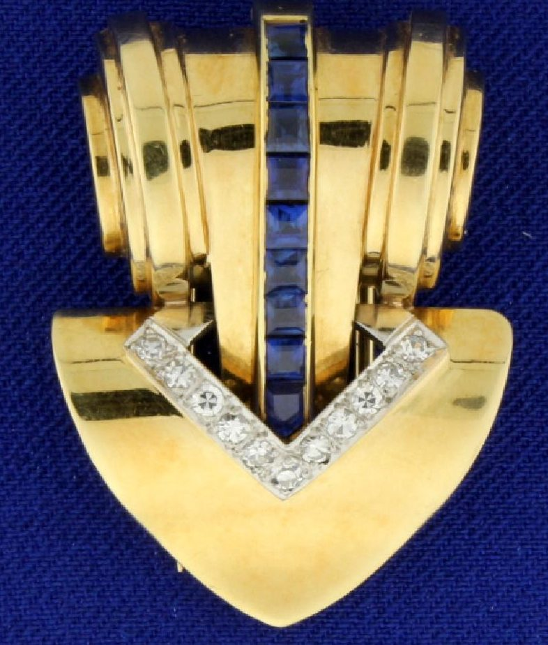 Cartier Sapphire and Diamond Brooch