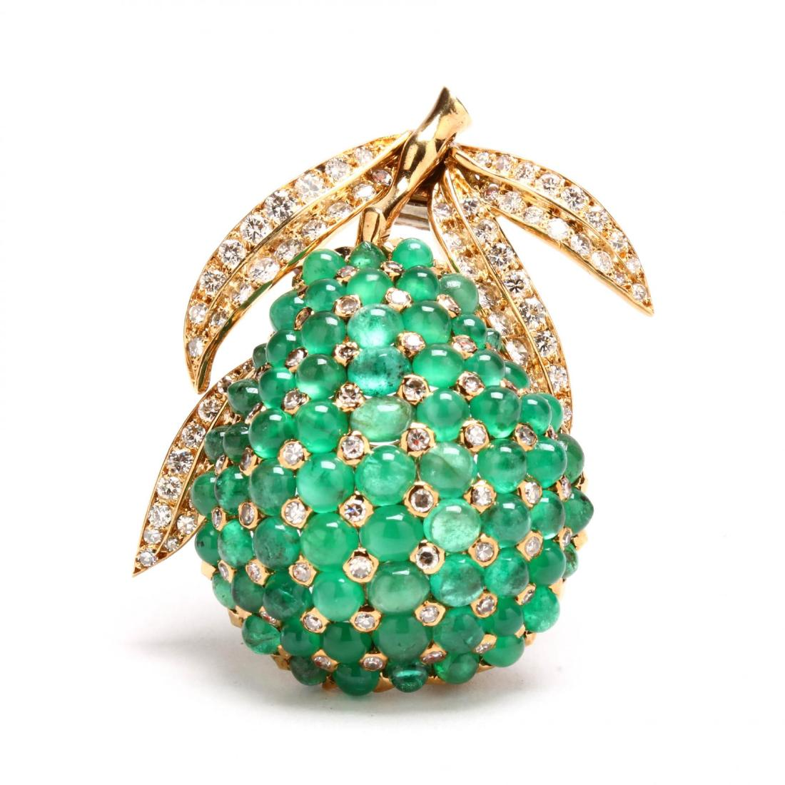 Emerald and Diamond Clip Brooch