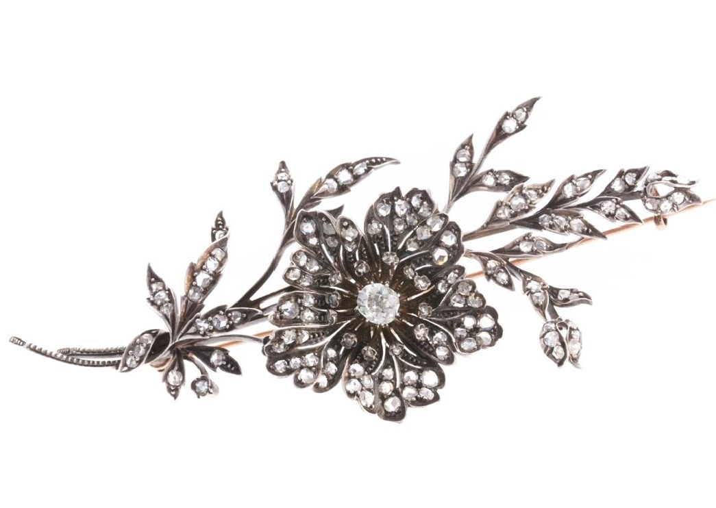 A Georgian Diamond Floral Brooch