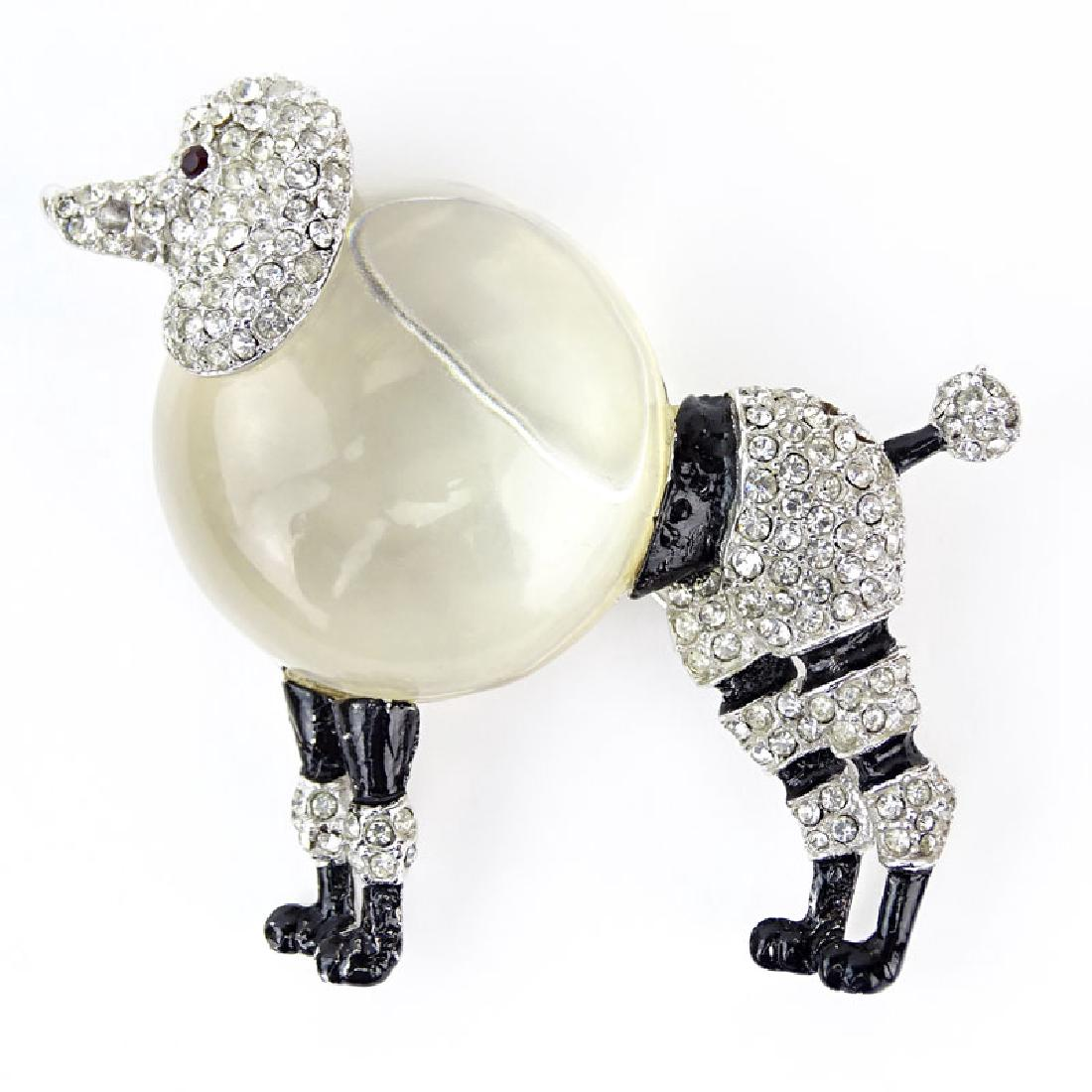 Rhinestone poodle brooch