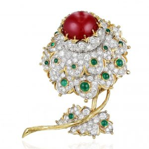 Cartier Coral, Diamond, and Emerald Flower Brooch