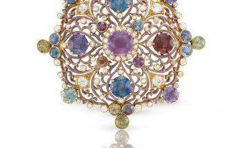 Renaissance Revival Sapphire Diamond Brooch