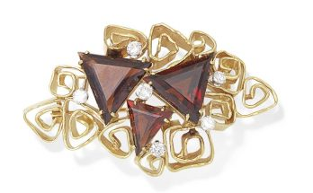 A garnet and diamond brooch, by George Weil, circa 1970