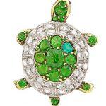 Antique Silver, Gold, Demantoid Garnet and Diamond Turtle Pin