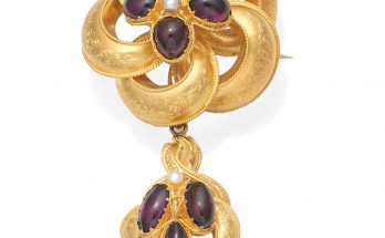 A garnet and pearl brooch, circa 1840