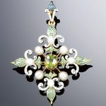 GOLD, ENAMEL, PEARL AND DEMANTOID GARNET BROOCH/PENDANT, 1890s