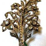 Rare Antique Georgian Diamond Brooch 10k Gold