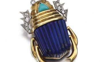 Lapis lazuli, turquoise and diamond brooch, Cartier