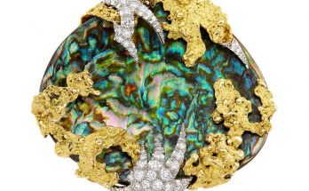 Gold, Platinum, Abalone Shell and Diamond Brooch, Mellerio