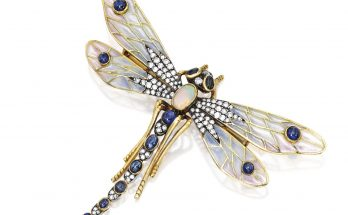 Silver, Gold, Plique-à-jour Enamel, Sapphire, Opal and Diamond Brooch Designed as a dragonfly