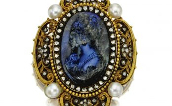 Labradorite cameo, diamond and pearl locket-brooch, circa 1890
