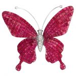 White Gold, Invisibly-Set Ruby and Diamond 'en Tremblant' Butterfly Brooch