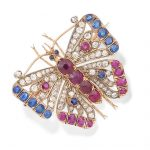 A ruby, sapphire and diamond butterfly brooch