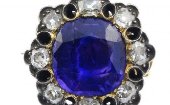 A mid Victorian silver and gold sapphire and diamond brooch