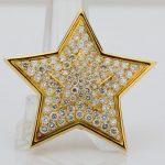 "Van Cleef & Arpels Vintage 3.86ctw VS1-VS2/D-E Diamond & Solid 18K Yellow Gold 1.6"" Star Pendant/Brooch"