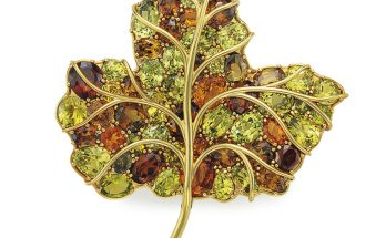 A MULTI-GEM LEAF BROOCH, BY VERDURA Designed as a maple leaf