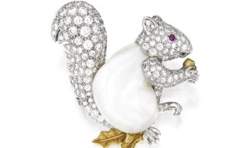 Platinum, Gold, Baroque Pearl, Diamond and Ruby Brooch, Verdura Designed as a squirrel
