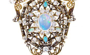 A 19th Century opal and diamond pendant/brooch