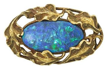 WALTON & CO. BLACK OPAL & GOLD ARTISANAL BROOCH