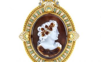 Antique Gold, Hardstone Cameo and Enamel Pendant-Brooch