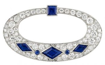 Art Deco Platinum, Diamond and Sapphire Brooch, Cartier