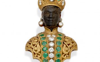 An emerald, diamond, ebony and 18k gold Blackamoor brooch, Nardi