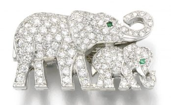 Diamond and emerald brooch, Cartier Designed as a pair of elephants