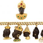 Gold, Blackamoor and Gem-Set Charm Bracelet and Brooch