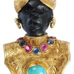 18kt. Blackamoor Brooch elaborately engraved