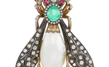 Antique Silver, Gold, Cabochon Emerald, Blister Pearl, Diamond and Ruby Insect Brooch