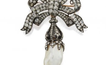 Natural Pearl and Diamond Brooch Suspending a baroque-shaped natural pearl