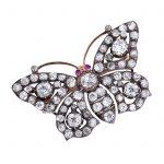 A diamond butterfly brooch, circa 1890