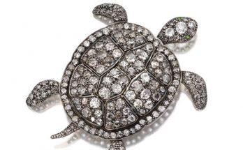 Diamond turtle brooch, late 19th century
