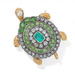 An emerald, demantoid garnet and diamond turtle brooch
