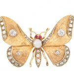 Antique Two-Color Gold, Diamond, Button and Split Pearl and Ruby Butterfly Brooch